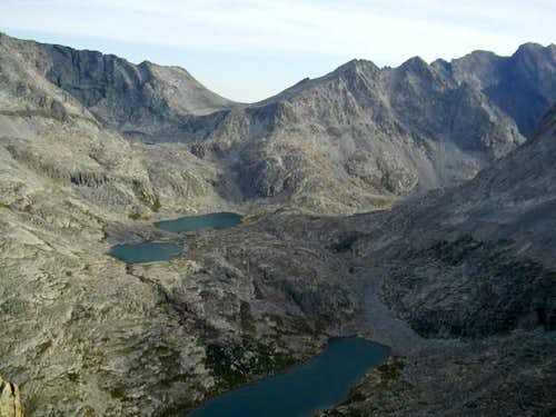 View of glacial lakes along...