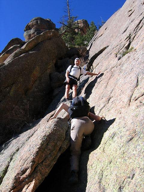 Approaching the first crux at...