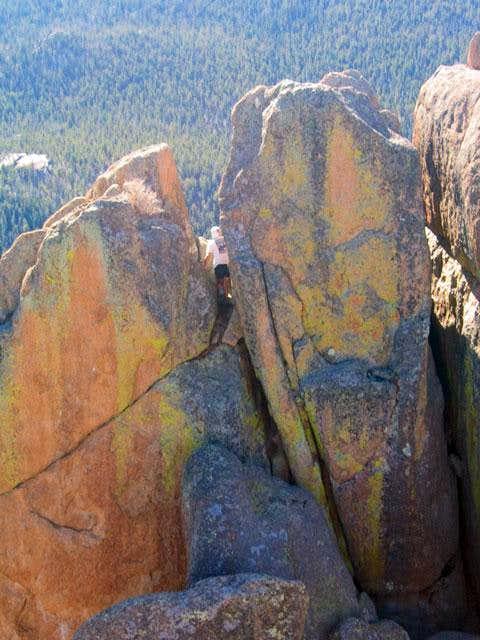Kurt is climbing in the first...