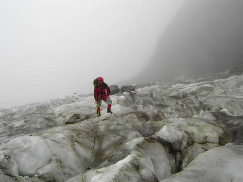 Standing on the glacier on...