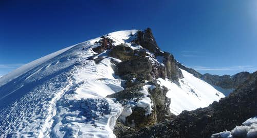 Deep blue sky over the summit of Misti