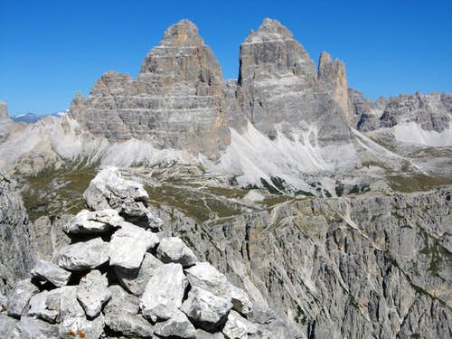 Tre Cime di Lavaredo South faces from Torre Wundt summit