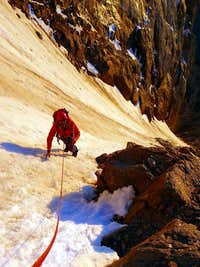 High in the Phoenix Couloir on the first Ascent