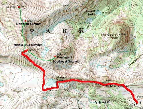 Map of Mount Fremont