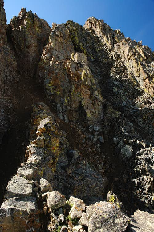The gullies leading to the summit ridge