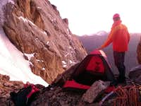 Bivy at the top of the couloir.