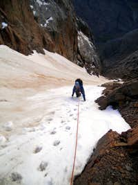 High in the Phoenix Couloir