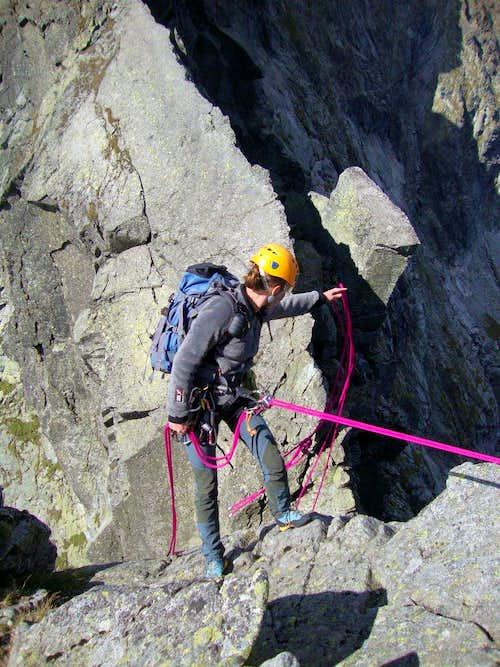 Abseiling to Wyżnia Żabia Pass