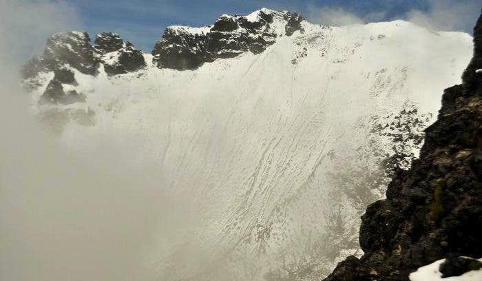 Snowy crater rim