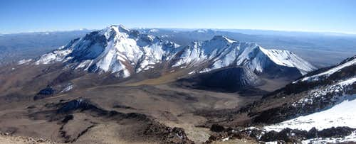 Panorama of Nocarani (5784m) from high on Chachani