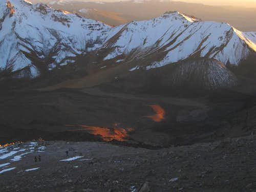 The early morning sun, coming over the pass