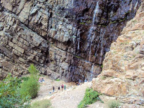 Crowds around Waterfall