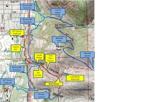Waterfall Canyon Area Map