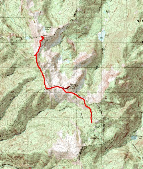 Map of the Route Up Noble Knob and Mutton Mountain