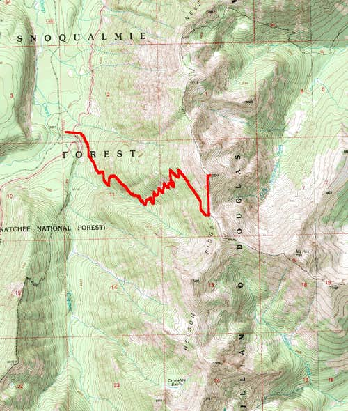 Map of Route to Nelson Ridge