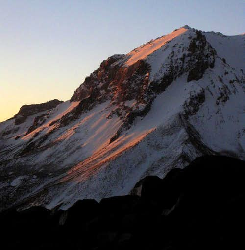 Alpenglow on the flanks of Nevado Nocarani