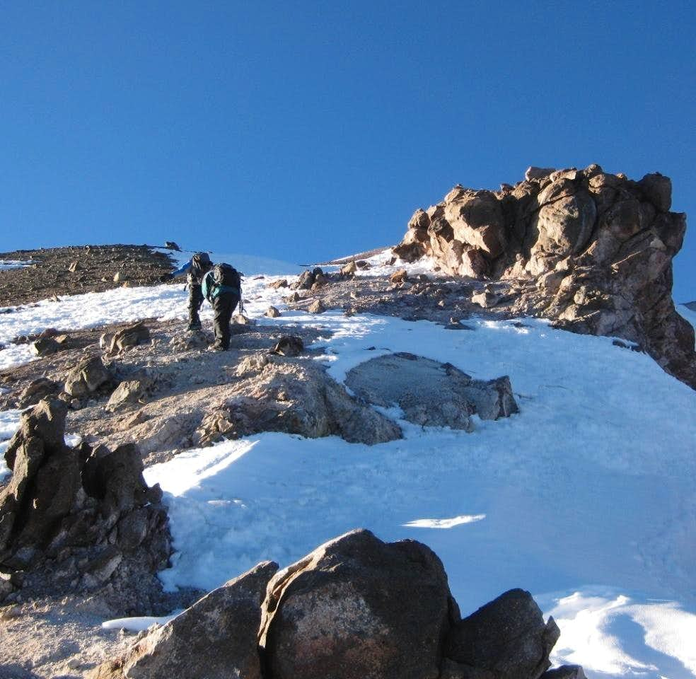 Passing volcanic formations high on Chachani