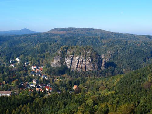 Mount Oybin above the village of Oybin