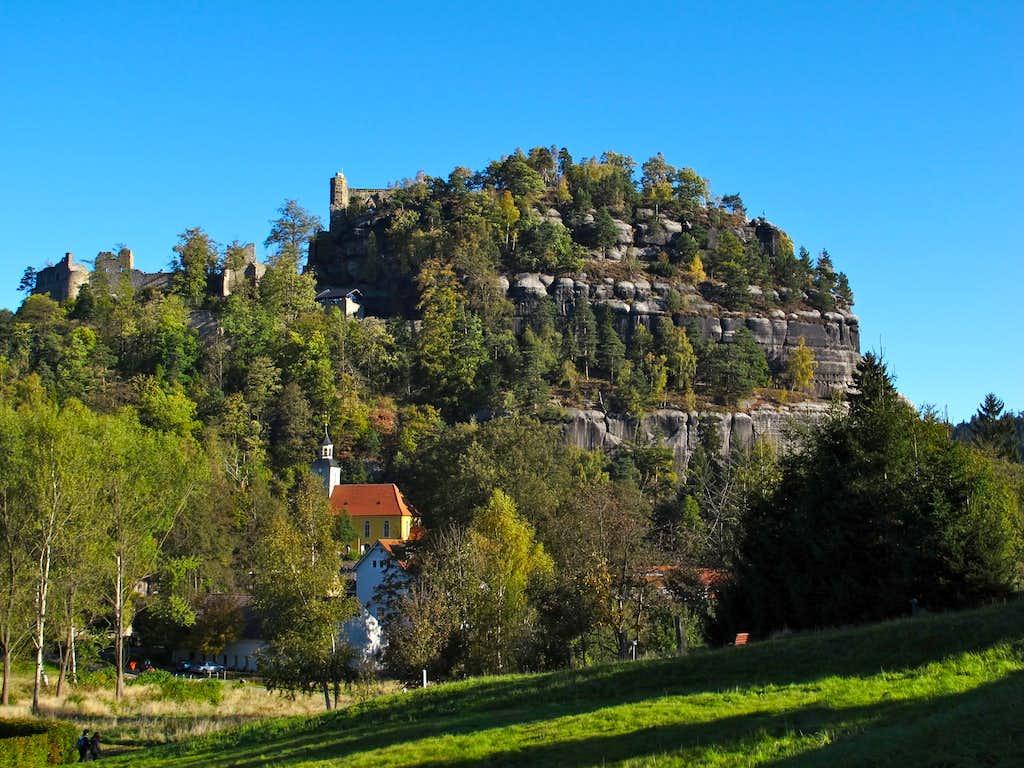 Mount Oybin with it's castle ruins on top