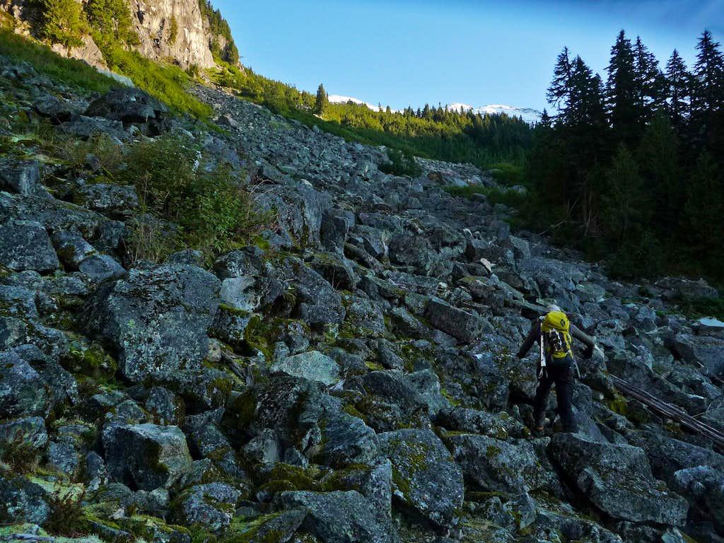 Scrambling up the Boulder Field