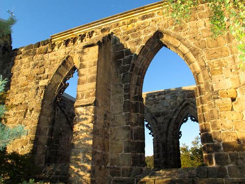 The medieval ruins of the church on Mount Oybin