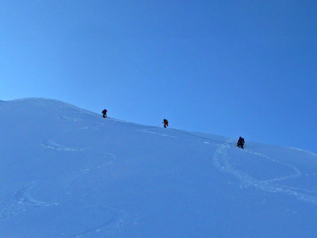 Climbers heading up towards the Top