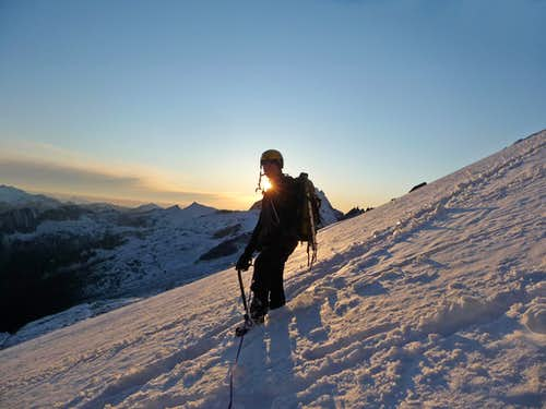 Ski Hiking down with the Sunset