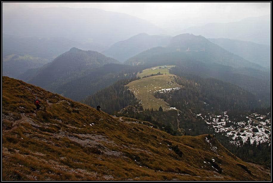 Descending from Kofce gora