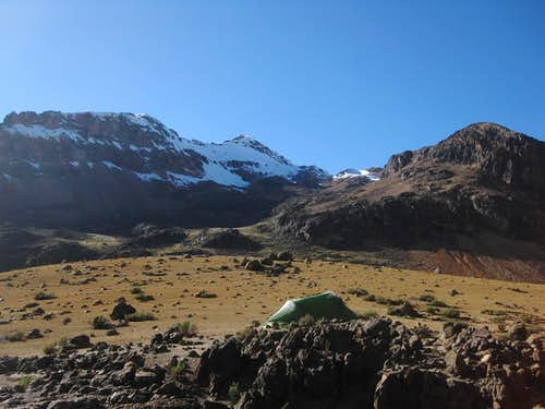 Camping high in Quebrada Huanta Occo, below Nevado Huarancante