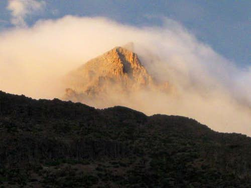 Clouds on Nevado Huarancante