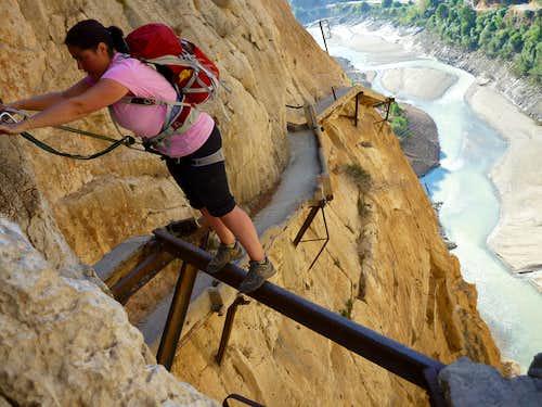 Balancing on Camino del rey