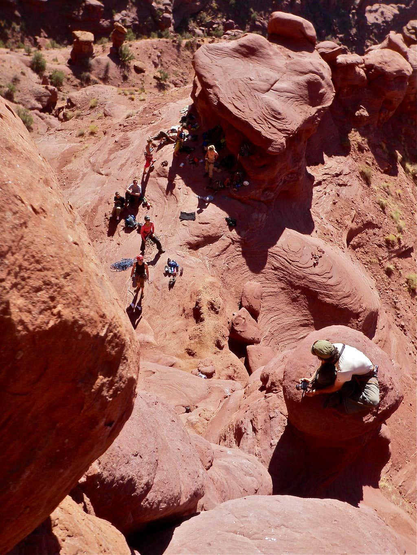 Waiting climbers