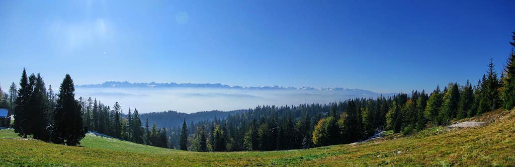 Whole Tatras from slopes of Turbacz