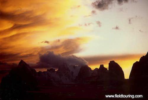 Sunset over the Uli Biaho and...