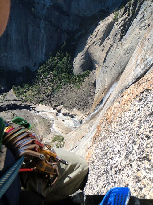 Looking down the 1,200 ft drop