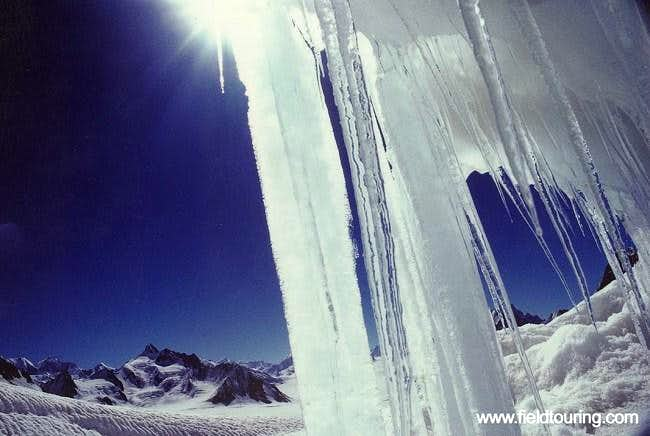 Icicles above Snow lake, a...