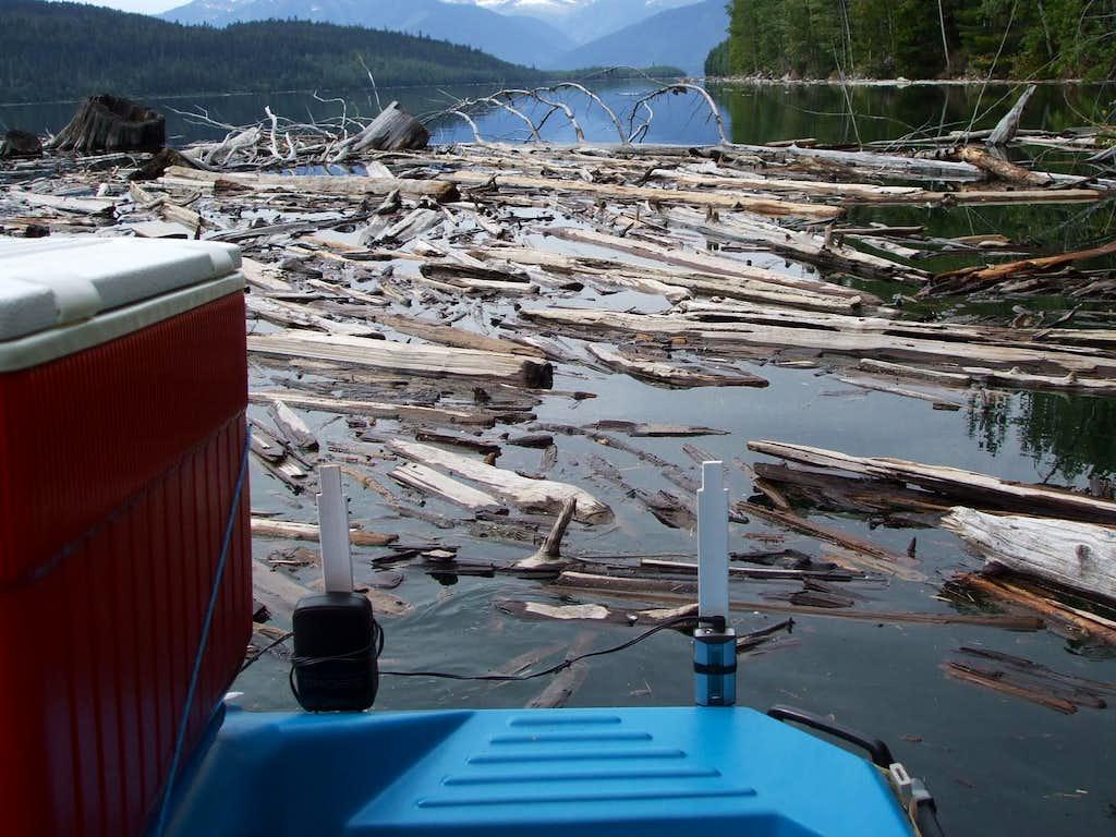 Paddleboat pushing through debris.