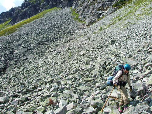 Traversing several kilometers of boulders.