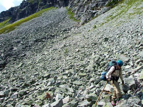 Traversing several kilometers of boulders.