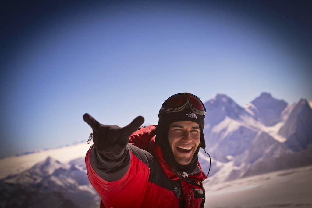Elia Saikaly on the Summit of Mt. Cho Oyu