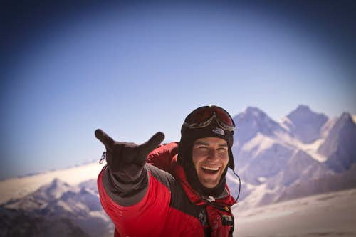 Elia Saikaly on the Summit of Mt. Cho Oyu
