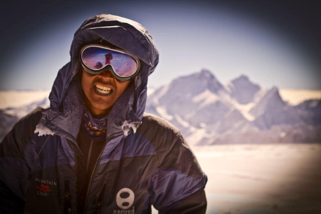 Dawa Tenzing on the Summit of Cho Oyu