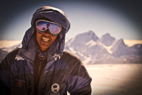 Dawa Tenzing on the Summit of Cho Oyu