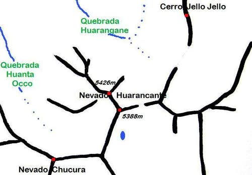 Schematic detail map of Nevado Huarancante