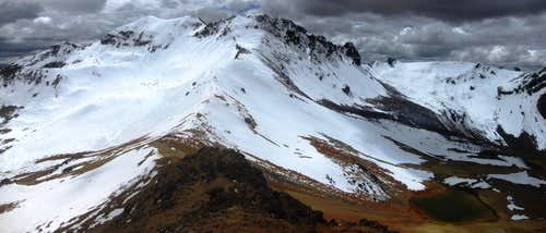 Panorama of Nevado Huarancante from Pt 5310 on the south ridge