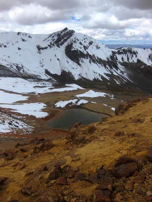 A small lake east of the south ridge of Nevado Huarancante