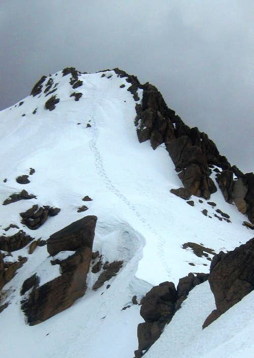 Looking back at the steep pitch on Nevado Huarancante