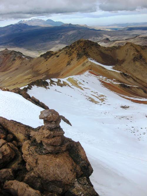 A useless cairn on the summit ridge of Huarancante