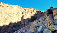Up the west side scree