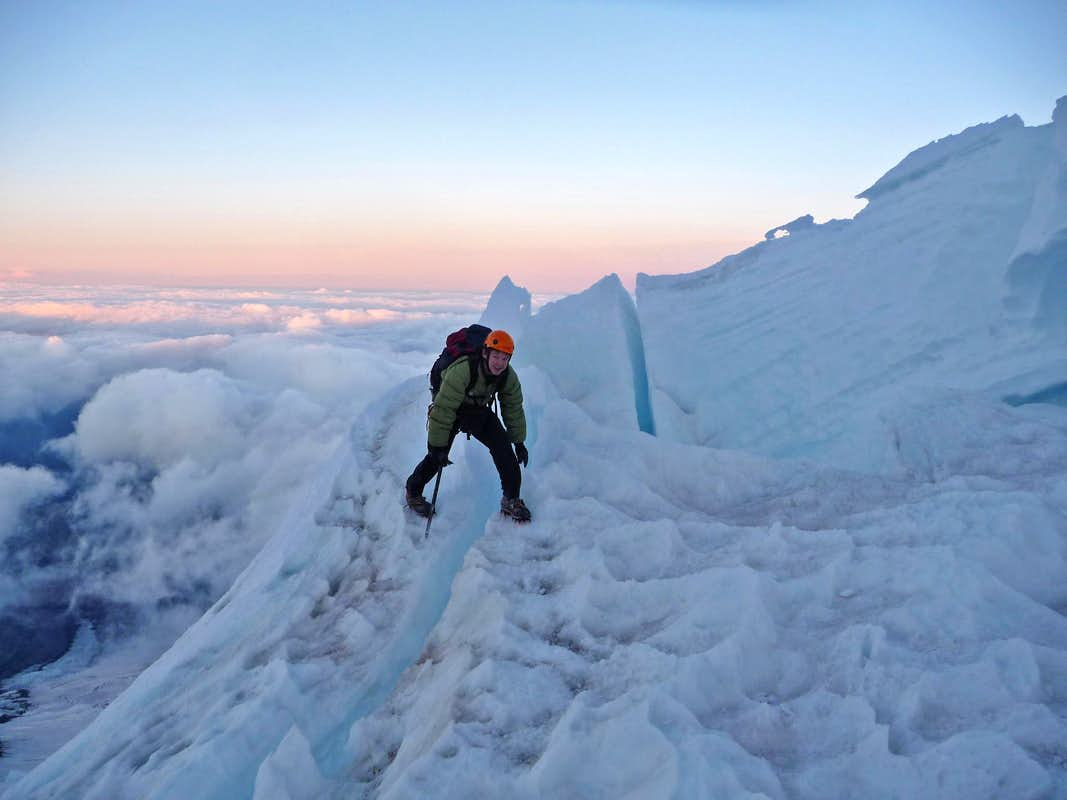 Crossing a Crevasse on Mount Rainier
